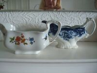 SET OF TWO VICTORIAN/EDWARDIAN GRAVY BOATS SHABBY CHIC