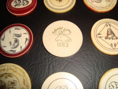 Circa 1950s Elks Club 1263 White 5-Cent Poker Chip, McKees Rocks, Pennsylvania