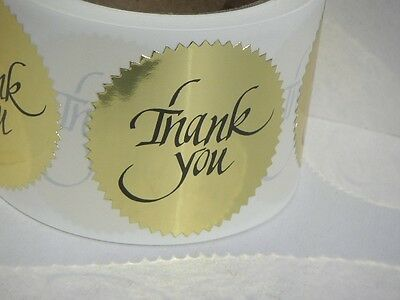 THANK YOU bright gold label sticker 2 1/2
