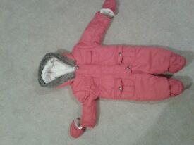 John Lewis pink 3-6 m fleecy snowsuit