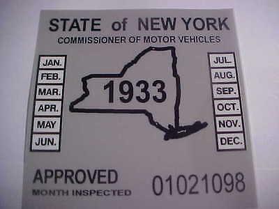 new york 1933 inspection sticker windshild model t / street rod