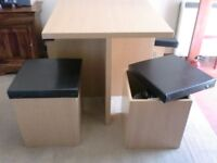 Breakfast Table with 4 Storage Stools