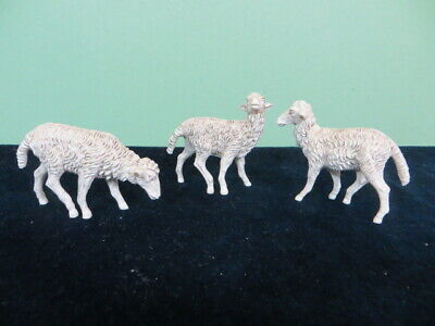 """Set of 3 Fontanini Nativity Standing White Sheep Figurines 5"""" Scale Italy"""