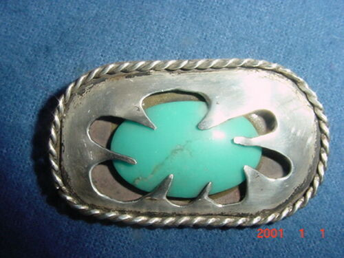 WONDERFUL VINTAGE NAVAJO INDIAN TURQUOISE AND SILVER BROOCH PENDANT