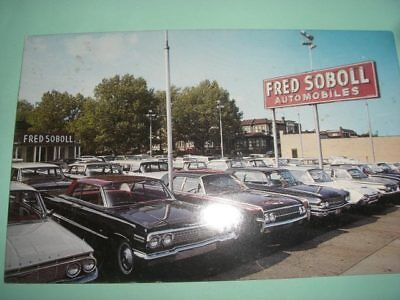 Car dealership Fred Soboll  1960s Philadelphia  auto dealer postcard