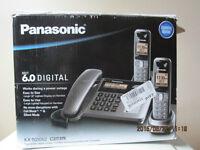 Téléphone Panasonic avec fil et 2 combinés sans fil, répondeur