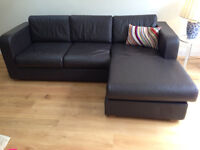 Brown leather corner sofa 3 seater good condition