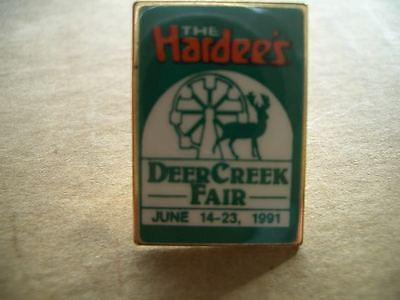Vintage Hardee's Official Metal Lapel Hat Pin Badge-1991 Deer Creek Fair-RARE