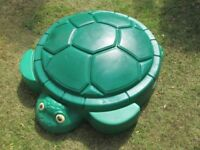 LITTLE TIKES GREEN TURTLE SANDPIT / POOL WITH LID-USED ONCE-VGC-COLLECT OSSETT-WAKEFIELD.