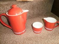 Brand New in box Red Nescafe coffee pot with milk jug and sugar bowl