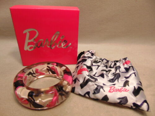Rare Lucite Chunky Barbie Bangle Bracelet, Pink/White/Black High Heels W/Box