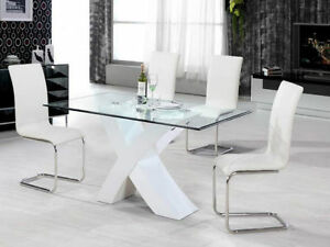 Modern glass dining table & bonded leather chairs