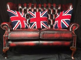 Finest Leather Chesterfield Style Oxblood Red High Back 2 Seater Sofa