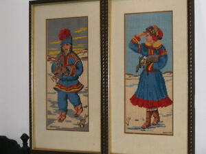 Five Needlepoint Pictures Professionally Framed