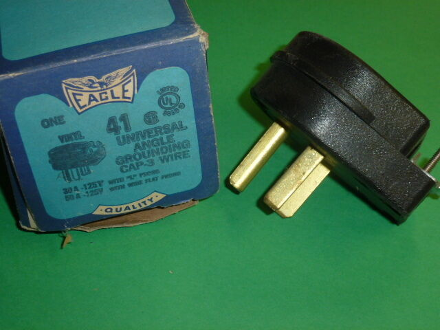 NOS! EAGLE UNIVERSAL ANGLE GROUNDING CAP-3 WIRE, 50A - 125V
