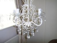NEW GLASS EFFECT CRYSTAL CHANDELIER FIVE ARM'S PLASTIC DISH ROUND EACH BULB HOLDER WHITE METAL FRAME