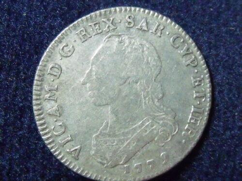 1779 ITALIAN STATES SARDINIA 1/2 SCUDO VERY RARE COIN P-69