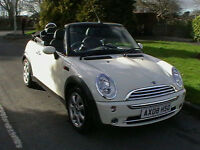08 REG MINI 1.6 COOPER CONVERTIBLE IN WHITE WITH FULL BLACK LEATHER HPI CLEAR
