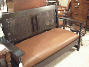 antique bench sofa - caned back, new leather seat