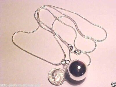 W-37#2  .925 STERLING SILVER 20MM CHIME BALL BELL (ANGEL CALLER) SILVER NECKLACE (Angel Bell Necklace)