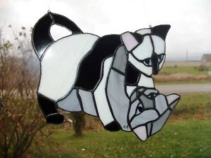 stained glass suncatcher cats vitrail Tiffany chats