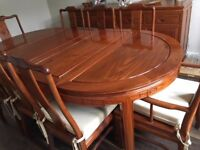 MING ROSEWOOD EXTENDING DINING TABLE AND 8 CHAIRS WITH SIDEBOARD
