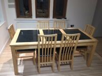 Harvey's beech dinning room table and chairs