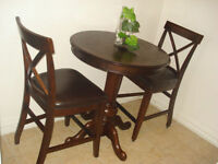 **Pub Bistro Table and Chairs in solid wood and leather***