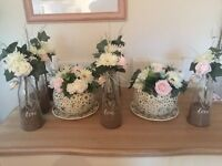Vintage lace teacups x 2 decor jars x 7 mni chalkboards and bunting