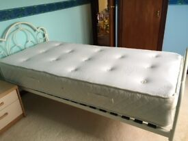 Single Sealy posture pedic mattress AND Marks and Spencer white metal bedframe.