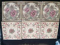 Ceramic Wall Tiles (x6) PinksBrowns/Vines Vintage Shabby Chic