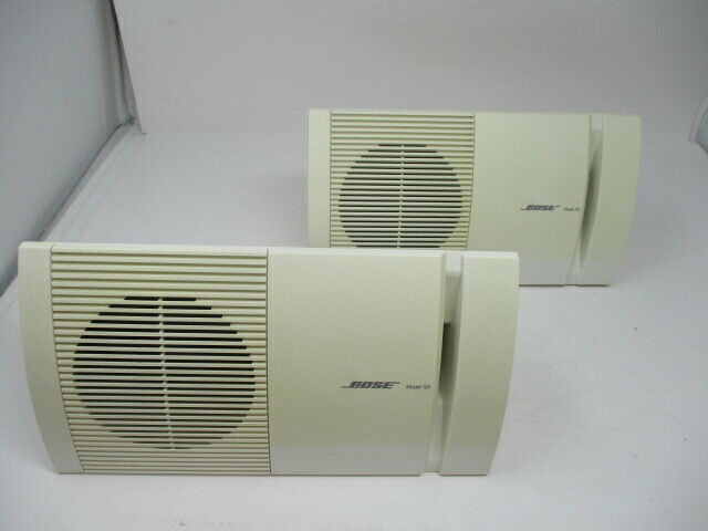 BOSE Model 100 White Surround Speakers Set 2 Bookshelf Wall Mount Speakers Pair