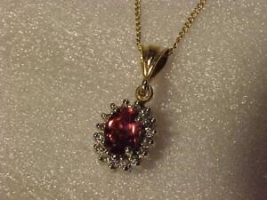 """#3523-14K-Reduced now $375.00 Gold Pendant/18""""chain.PINK TOURMALINE & DIAMONDS Appraised $1,750.00 SELL $465.00 layaway"""