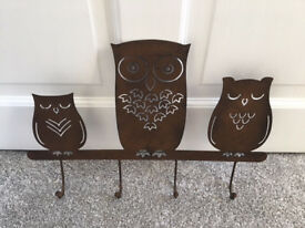 Garden brown cast iron decorative owl wall mounted hooks from Next
