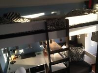 Black and White Stompa Cabin/High Sleeper Bed, White Wardrobe and White Chest of Draws.