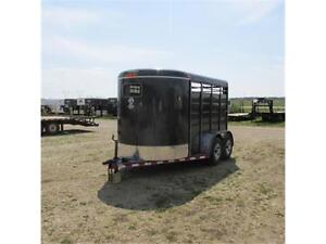 2015 Calico 12' Stock Bumper Pull Trailer with Tandem 3.5K Axles