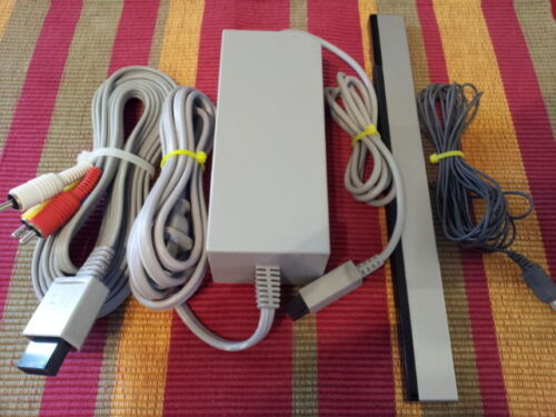 Genuine OEM Original Nintendo Wii Power Cord, AV Cable and Sensor Bar Bundle