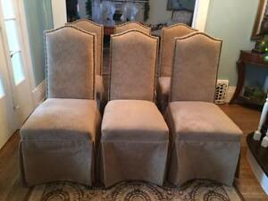 Skirted Parsons Diningroom Chairs with Nailhead Trim, Set of 6