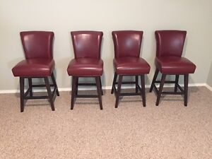 Red Leather Swivel Barstools