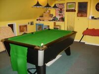 Black Supreme Pool Table, Standard pub size 7 x 4, with loads of additional accessories