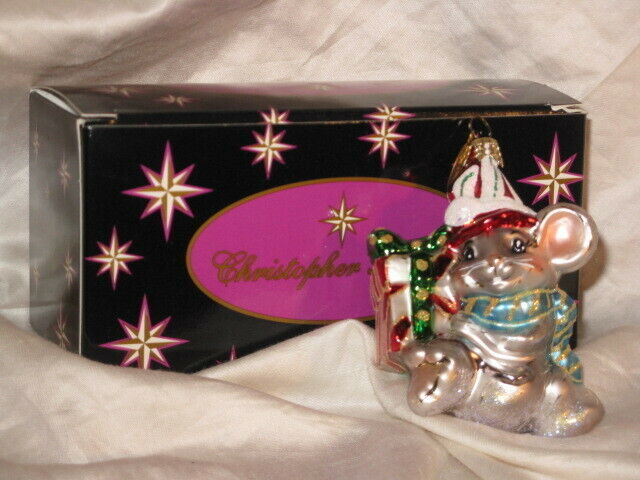 """Christopher Radko 3 1/2"""" Glass Mouse Ornament Boxed Unused SCARCE SEE"""