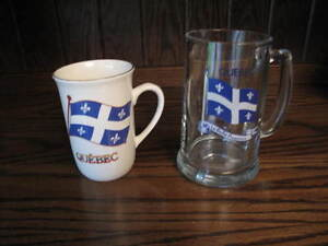 Vintage cup and beer mug with Quebec flag