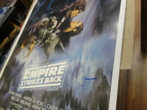 24x36 framed STAR WARS MOVIE POSTER AUTOGRAPHED - BOBA FETT  JSA