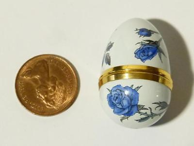 Crummles & Co Enamel Trinket Box Limited Edition Egg Shaped with Blue Roses #B3