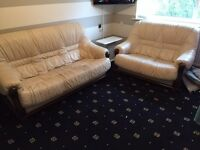 Pair of Cream Leather Settees, 2 and 3 seater