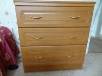 Wooden 3 draw chest