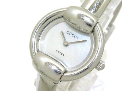 Auth GUCCI 1400L Silver Women