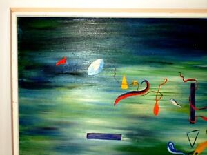 ORIGINAL ABSTRACT oil painting SPACE DUST signed WILLIAMS vntg. Kitchener / Waterloo Kitchener Area image 2