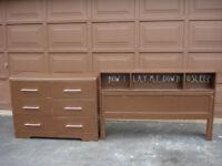 Dresser, headboard