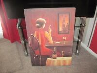 Canvas picture of a lady - - £2 - -